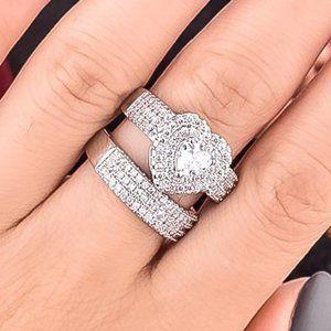 NEW 2PC/Set 925 Silver Diamond Halo Heart Ring